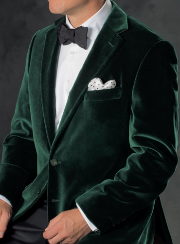 Green Velvet Notch Collar Sport Coat