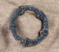 "Crocheted ""Bamboo"" Bracelet in Silver"