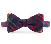 Plaid Wool Bow Tie in Plum