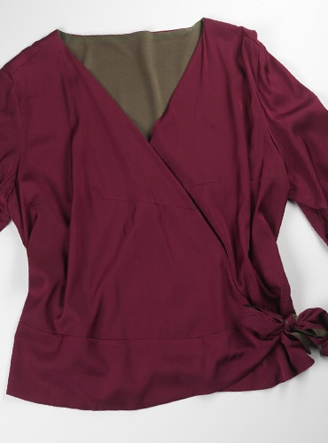 Marie Meunier Reversible Silk Blouse in Red and Khaki