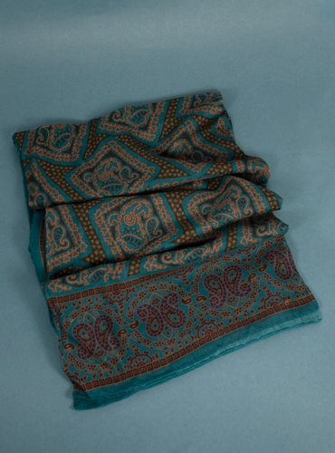 Wool and Silk Printed Scarf in Teal and Mocha