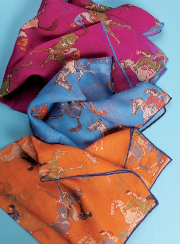 Cotton and Cashmere Jockey Motif Pocket Squares