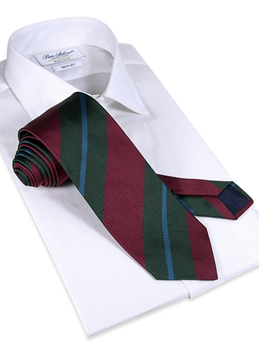 Silk Multi-Stripe Tie in Berry
