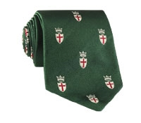 Silk Woven Crest Tie in Hunter
