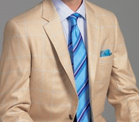 Pale Gold and Cream Glen Plaid Cashmere Sport Coat with Blue Windowpane