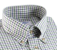 Cotton and Cashmere Button Down with Tattersall Check in Grass, Cobalt, and Brown