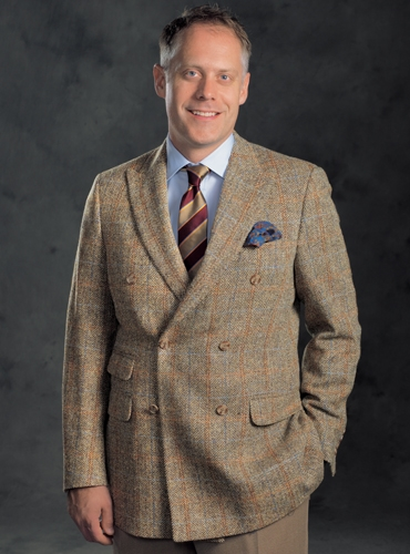 Brown and Tan Chevron Double Breasted Sport Coat in Harris Tweed