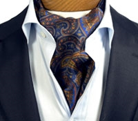 Silk Printed Paisley Ascot in Royal