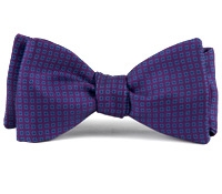Silk Print Bow with a Square Motif in Purple