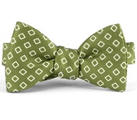 Silk Diamond Motif Bow Tie in Fern