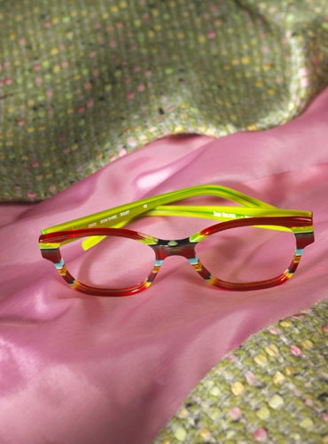 Multi-Layered Rectangular Frame in Red, Green, Black, and Orange