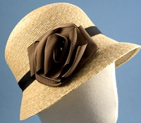 Ladies Straw Cloche Hat with Rosette