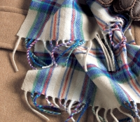 Cashmere Plaid Scarf in Cream, Royal, Bottle and Cranberry