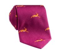Jacquard Woven Hare Motif Tie in Fuchsia