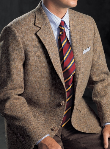 4da3bf4a1e41 Dusty Blue and Beige Herringbone Harris Tweed Sport Coat