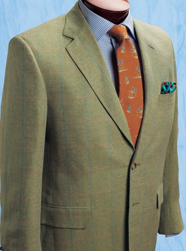 Cream and Pale Grass Green Herringbone Sport Coat with Windowpane