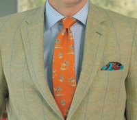 Cream and Pale Grass Green Herringbone Sport Coat with Windowpane