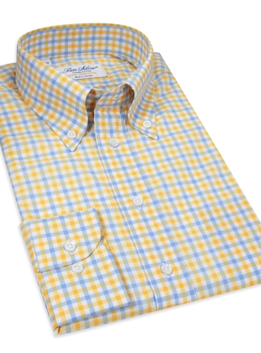Traditional Check Yellow/Blue Button Down