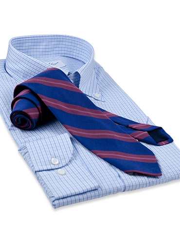 Silk and Cotton Woven Stripe Tie in Regal