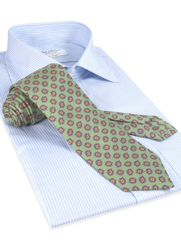 Diamond Printed Panama Silk Tie in Pastel