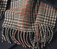 Vintage Plaid Cashmere Scarf in black, cream and burnt orange