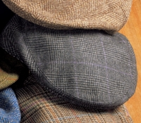 Wool and Cashmere Garforth Cap in Grey Glen Plaid with Lavender Windowpanes