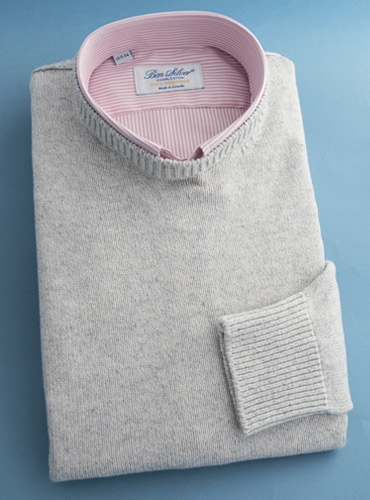 Cotton Cashmere and Silk Crew Neck Sweater in Earl Grey