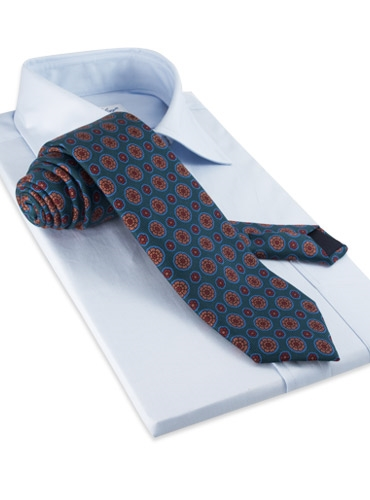 Silk Printed Madder Tie With Medallion Motif in Bottle