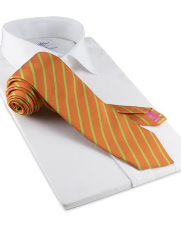 Mogador Bar Stripe Tie in Tangerine