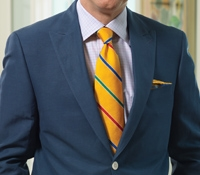 Light Navy Silk & Linen Peak Lapel Blazer