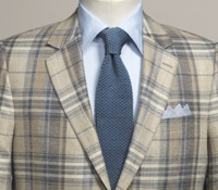 Sand and Grey Glen Plaid Sport Coat in Silk and Linen