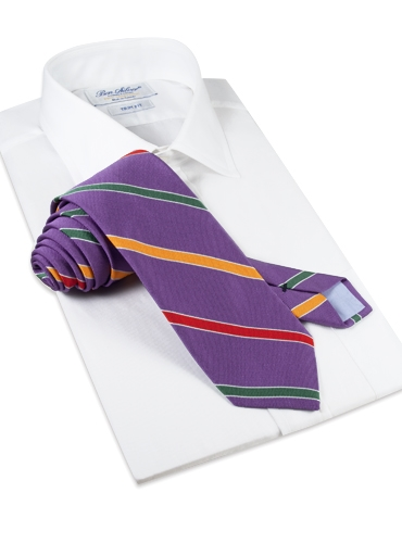 Silk Multi-Stripe Tie in Purple