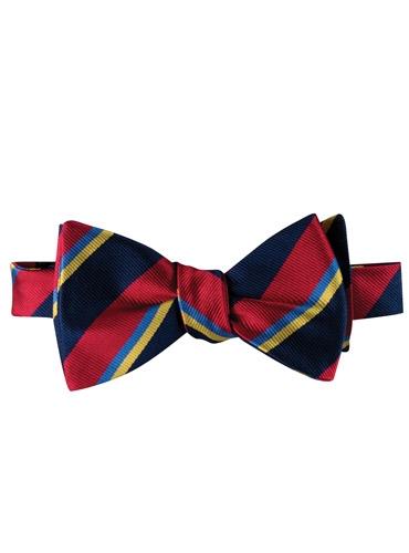 Silk Stripe Bow Tie in Ruby
