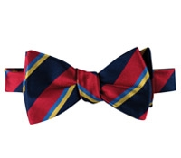 Silk Stripe Bow Tie in Ruby