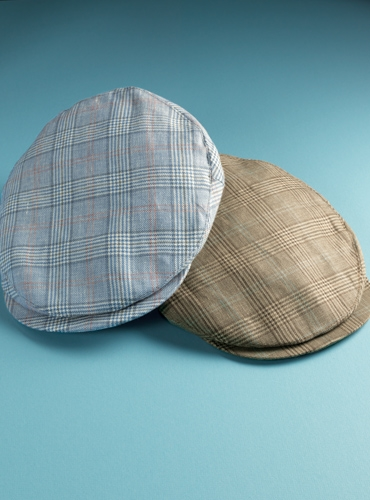 Wool and Linen Helmsley Cap in Dusty Blue Glen Plaid