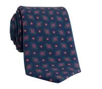 Silk Printed Diamond Tie in Navy
