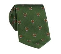 Silk Woven Fox Motif Tie in Fern