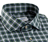 Navy and Green Plaid Poplin Modified Cutaway