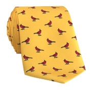 Silk Print Cardinal Motif Tie in Yellow