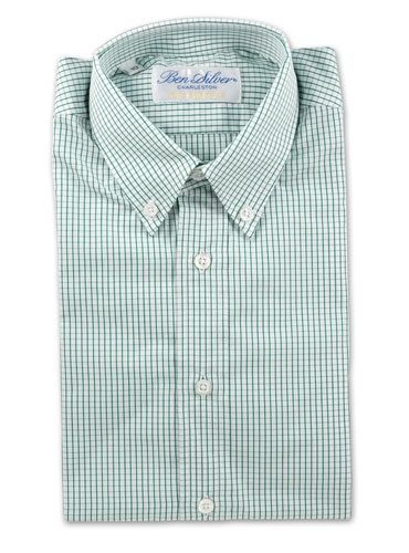 Boys Green Grid Shirt
