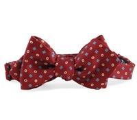 Printed Neat Bow in Burgundy