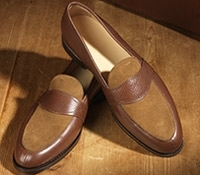 The Charleston Loafer in Brown Pebble Grain and Spice Suede