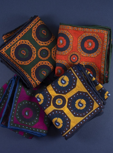 Silk Geometric and Paisley Reversible Pocket Squares