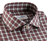 Red and White Plaid Poplin Modified Cutaway
