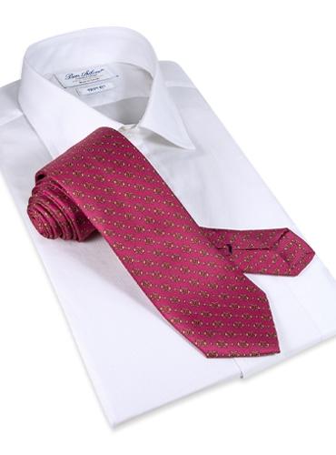 Silk Horse Motif Tie in Rose