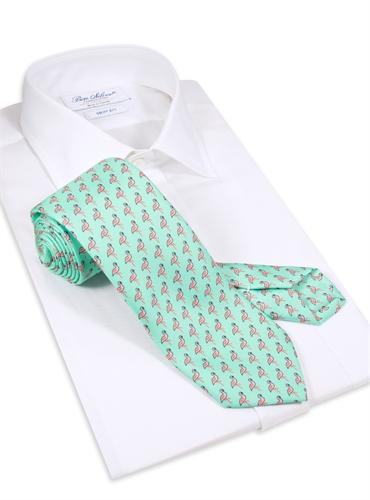Flamingo Printed Tie in Aqua