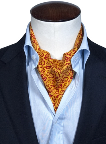 Silk Print Paisley Ascot in Mustard and Fire