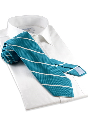 Mogador Thin Bar Stripe Tie in Teal