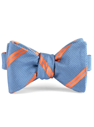 Mogador Silk Double Stripe Bow in Persian with Chili