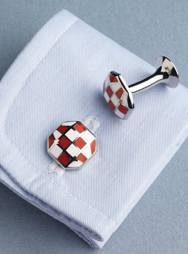 Octagon shaped Cufflinks in Red and White Checkerboard